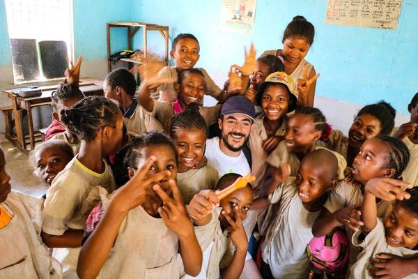 African children inside-classroom with teacher