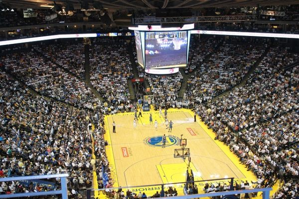 nba game in a basketball stadium